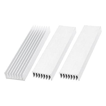 3 Pcs Silver Tone Alumínio Radiador dissipador de calor dissipador de calor 110x28x11mm