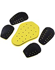 5Pcs Motorcycle Removable Shoulder Elbow Pads Back Guards Safety Protective Gear Set, Black&Yellow