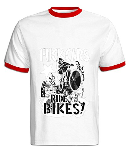 Eagle u2 Men's fitted short sleeve T-shirt Fuck cars ride bikes red