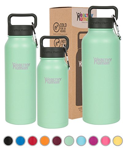 Healthy Human Stainless Steel Insulated Water Bottle Thermos - BPA Free Cap with Hydro Guide & Carabiner Set - Seamist - 16 oz