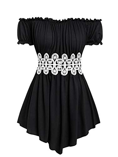 ZEZCLO Women's Plus Size Tops Off-Shoulder Flounce Sleeves Corset Waist Pleated Tunic Blouse Shirt Black L ()