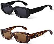 2 Pack Rectangle Sunglasses Vintage Black Tortoise Glasses Wide Frame
