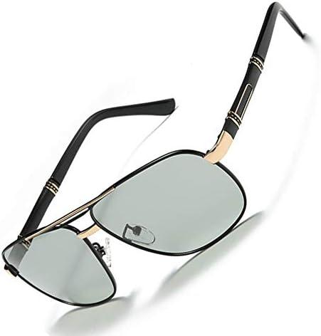 ALGWXQ Farbwechselnde Sonnenbrillen for Männer, UV-beständige polarisierte Sonnenbrillen, quadratische Outdoor-Reisebrillen for Männer (Color : Gold)