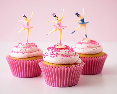 24-Ballet-Cupcake-Toppers-Kit-Plastic-Pink-Blue-Ballerina-Novelty-Picks-Pink-Baking-Cups-Pink-Sugar-Sprinkles