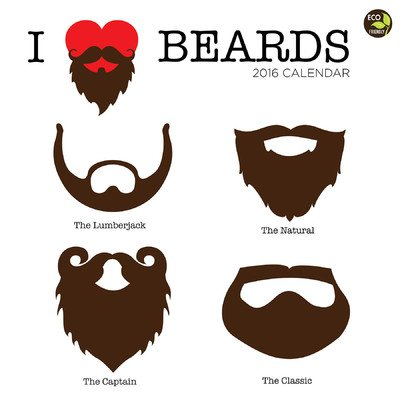 TF Publishing 16-1031 2016 I Heart Beards Wall Calendar