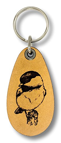 ForLeatherMore - Chickadee - Genuine Leather Keychain - Wildlife Key Fobs