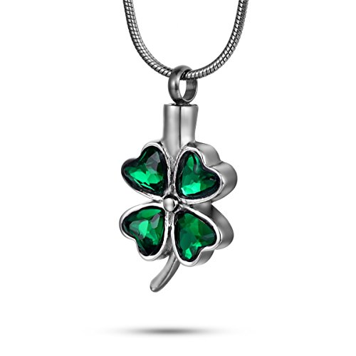 FCZDQ Cremation Keepsakes Jewelry Lucky Four Leaf Clover Urn Necklace for Ashes Memorial Jewelry with Fill Kit