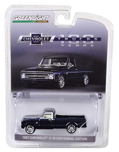 1967 Chevrolet C-10 Performance Centennial Edition Pickup Truck Metallic Dark Blue 1/64 Diecast Model Car by Greenlight 29974
