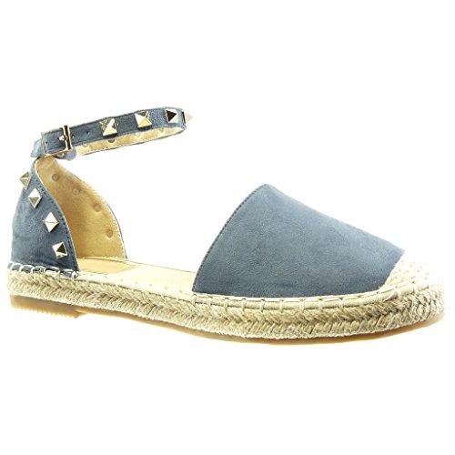 Angkorly - Chaussure Mode Espadrille Sandale ouverte femme clouté corde lanière Talon bloc 2 CM - Bleu
