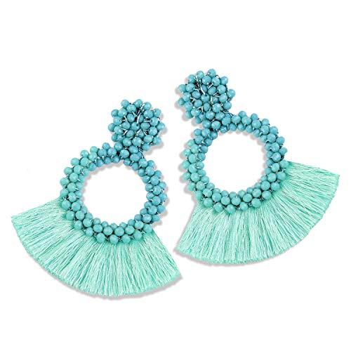 Statement Tassel Bead Earrings for Women, Drop Dangle Round Beaded Hoop Fringe Bohemian Earrings Women Girl Novelty Fashion Summer Accessories - E1 Turquoise