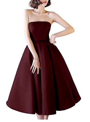 (Women's Sexy Strapless Prom Dress Satin Off Shoulder Tea Length Lace Up Cocktail Party Gowns Burgundy,8)