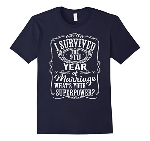 Men's Anniversary Gift 9th - 9 years Wedding Marriage T-Shirt Large Navy