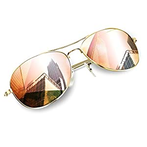Aviator Sunglasses for Small Face Adult and Juniors, Wenlenie Women Shades Gold Metal Frame/Pink Mirror Lens- Small