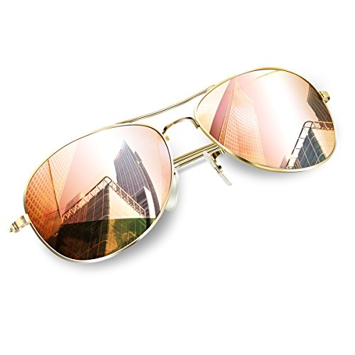 Aviator Sunglasses for Small Face, Wenlenie Women Sunglasses Gold Metal Frame/Pink Mirror Lens- - Lens Small