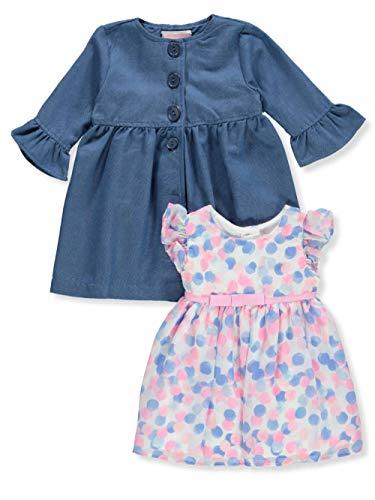 Ribbon Trim Placket - Youngland Baby Infant 2-Piece Dress Set Outfit - Cream, 6-9 Months