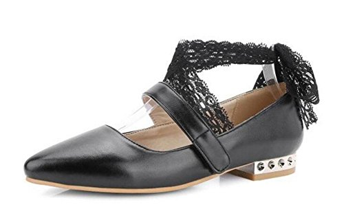 pattini Sandali Court 's diritte nastro i pompa cinturini Closed del Shoes Black Women alla caviglia Toe XwT7qq