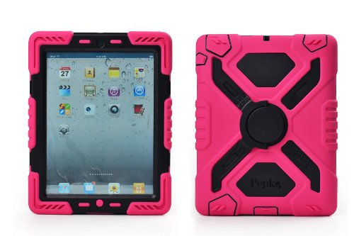 Pink Plastic Case (Pepkoo Ipad 2/3/4 Case Plastic Kid Proof Extreme Duty Dual Protective Back Cover with Kickstand and Sticker for Ipad 4/3/2 - Rainproof Sandproof Dust-proof Shockproof (Pink/black))