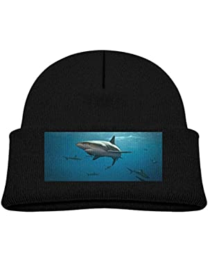 Kids Knitted Beanies Hat Shark Winter Hat Knitted Skull Cap for Boys Girls Pink