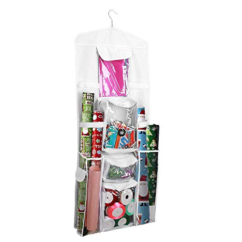 (ProCase Gift Wrap Organizer, Double-Sided Hanging Gift Bag Wrapping Paper Holder with Multiple Clear Pockets and 360 Degree Swivel Hook for All Your Gift Wrapping Accessories)