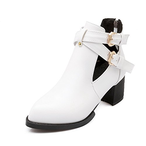 AgooLar Women's Soft Material Pointed Closed Toe Solid Low Top Kitten Heels Boots White Y2ZK3S3ab