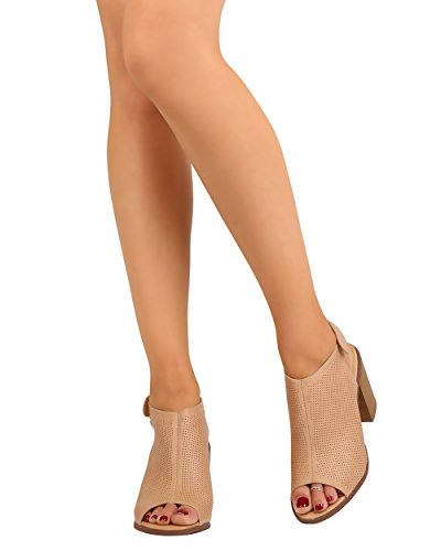 Liliana FD18 Women Leatherette Perforated Peep Toe Chunky Heel Slingback Mule - Nude