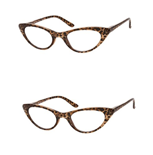 The Brit Cat Eye Reading Glasses, Full Frame Readers for Women +1.25 (2 Pair) Brown Leopard (2 Microfiber Cleaning Pouches Included)