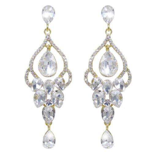EVER FAITH Austrian Crystal Wedding Tear Drop Vase Shape Dangle Earrings Clear (Post Vintage Vase)