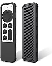 Fintie Beschermhoes voor Apple TV Siri Remote 2021 – lichte, antislip, schokbestendige siliconen hoes case cover voor Apple TV 4K / HD Siri afstandsbediening (2e generatie), zwart