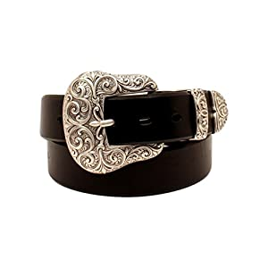 ARIAT Women's Beveled Edge Silver Buckle Set Belt