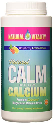 Natural Vitality Natural Calm PLUS Calcium Supplement Powder, Raspberry Lemon- 16 ounce
