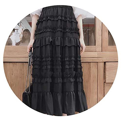 (Long Maxi Black White Ruffles Summer Skirt Women High Waist Pleated Sun School Skirt,Black,One Size)