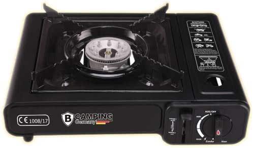 Brandsseller - Hornillo de gas compacto de acero inoxidable, 2,1 kW, sistema de seguridad