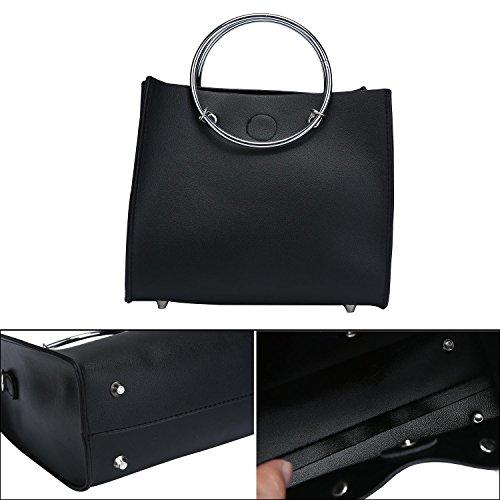 niceEshop(TM) 2 Pcs Bolsos de Hombro de Cuero de la PU de las Mujeres Empaquetan El Monedero,Gris Negro