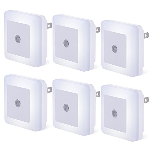 Plug-in Night Light, LSXD LED Night Light, Dusk-to-Dawn Sensor, Bedroom, Bathroom, Kitchen, Hallway, Stairs, Energy Efficient, Compact, 6-Pack