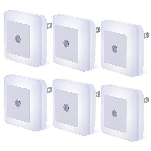 Plug-in LED Sensor Night Light, 6 Pack Compact Dusk to Dawn Sensor Daylight White Light Lamp Wall Light Energy Efficient for Bedroom, Hallway, Bathroom, Kitchen, Stairs - Daylight White - Night Sensor