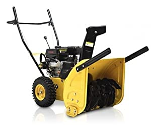 B00AECSIE4_BMS JXS65EM YELLOW 4 Cycle Dual Stage 6.5 HP Snow Blower w/ Snow Hog Tires