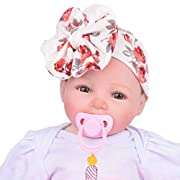 Fullkang Baby Infant Kids Girls Bowknot Hairband Turban Bowknot Headwrap Hairband (Red)