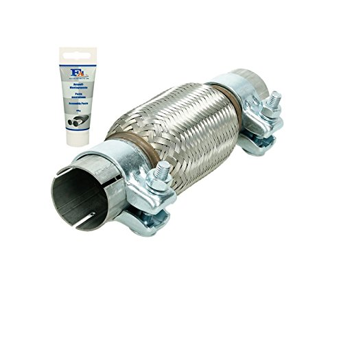 ECD Germany Flex-007 Universal flexible tube - 45 x 150 mm - with 2 clamps - made of stainless steel - interlock - assembly without welding + exhaust paste 60g paste - flexible tube: