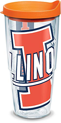 Tervis 1126308 Illinois Fighting Illini Colossal Tumbler with Wrap and Orange Lid 24oz, Clear