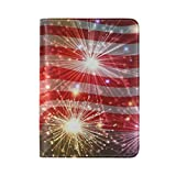 American Flag Fireworks Print Abstract PU Leather Passport Holder Cover Case Travel Accessory