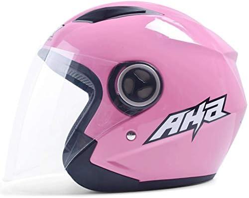 NJ ヘルメット- ABS素材ヘルメットFour Seasonsユニバーサルライト防曇ハーフカバーマルチカラーオプション (Color : Pink, Size : 30x25x23cm)