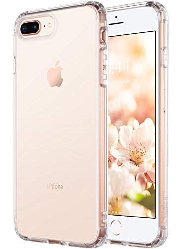 iPhone 8 Plus Case, iPhone 7 Plus Clear Case, ULAK Crystal Clear Hard Cover Reinforced Frame Durable Shock-Absorption Flexible Soft Rubber TPU Bumper Hybrid Protective Case for iPhone 7 Plus/8 Plus - Tpu Rubber Protective Case