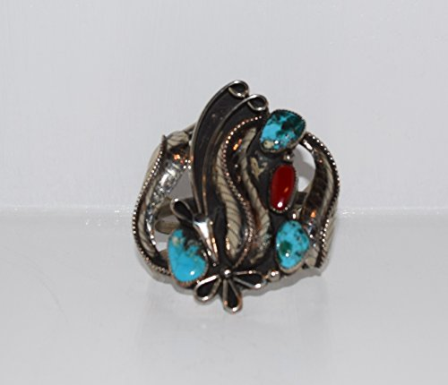 FROM THE VAULT Beautiful Vintage American Turquoise and Genuine Coral Cuff Bracelet