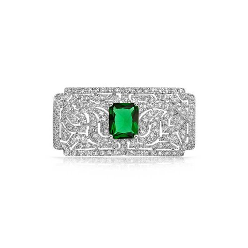 Bling Jewelry Simulated Emerald CZ Art Deco Style Brooch Rhodium Plated
