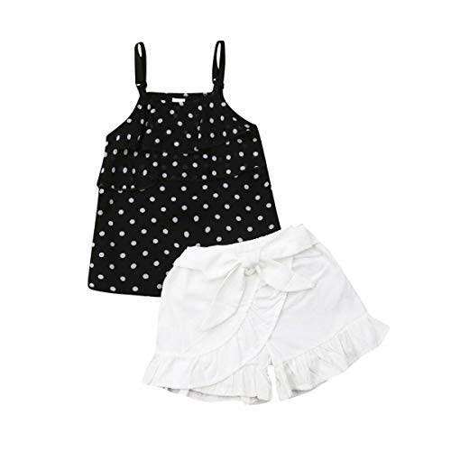 Toddler Girls Summer Short Set Halter Ruffle Top+Bowknot Pants Summer Clothes Outfit(Black Polka Dots Top+Pleated Shorts, 3-4T)