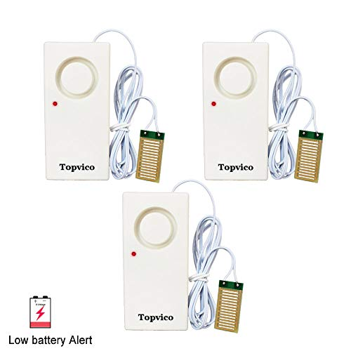Topvico Water Leakage Alarm Detector Sensor 120dB Flood Alert Leak Detection Work Alone Home Security Low Battery Alert (3 Pack)