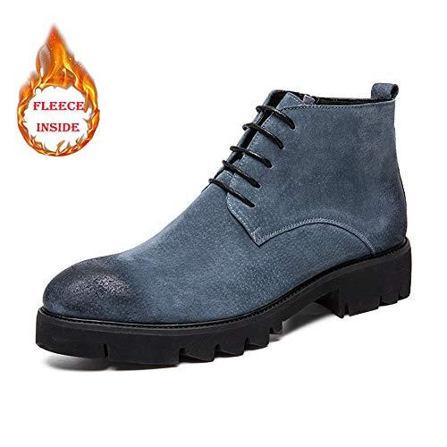 Zapatos Cuero Antideslizantes Cremallera Botines De Lateral Oxford Vestir Cordones Los Sin Livianos Gray Hombres Warm Apragaz Con Invierno Clásicos xIY4qwnS