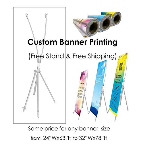 TheDisplayDeal Adjustable Aluminum Banner Stand with Custom Banner Any Size from 24