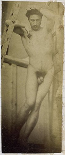 """Classic Art Poster - Study of a male nude, hanging in a wooden scaffold, in the studio of sculptor / painter Jacques de Lalaing, Jacques Lalai 10.5"""" x 24"""""""