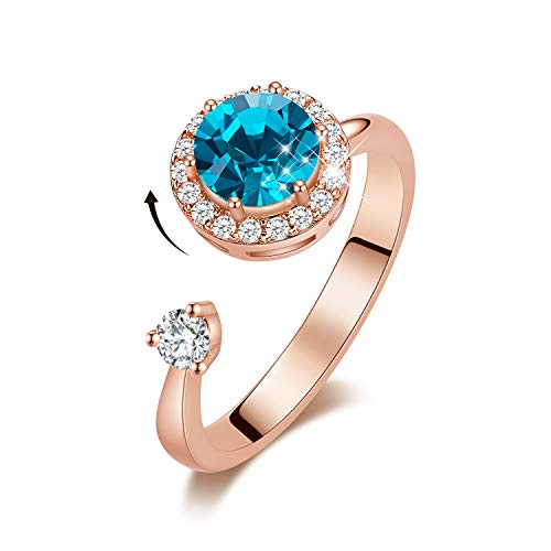 CDE Birthstone Rings for Women Rose Gold Plated Embellished with Crystals from Swarovksi Open Expandable Design Fit Size for 6-8, Gift for Mothers Day